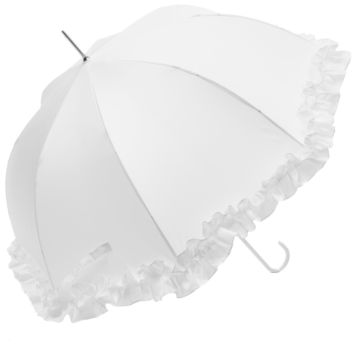 Luxury Large Frilled White Wedding Umbrella (12017/WHI)