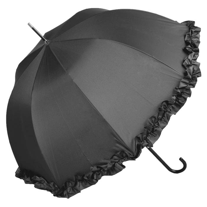 Large Frilled Black Wedding Umbrella (12017/BLK)