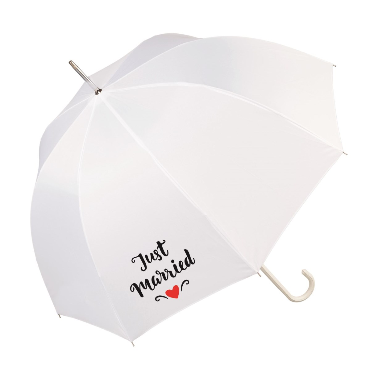"Luxury White Wedding Slogan Umbrella ""Just Married"" (17016/WHI)"