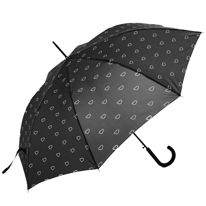 Charcoal Grey Clouds Printed Walking Umbrella (15003)