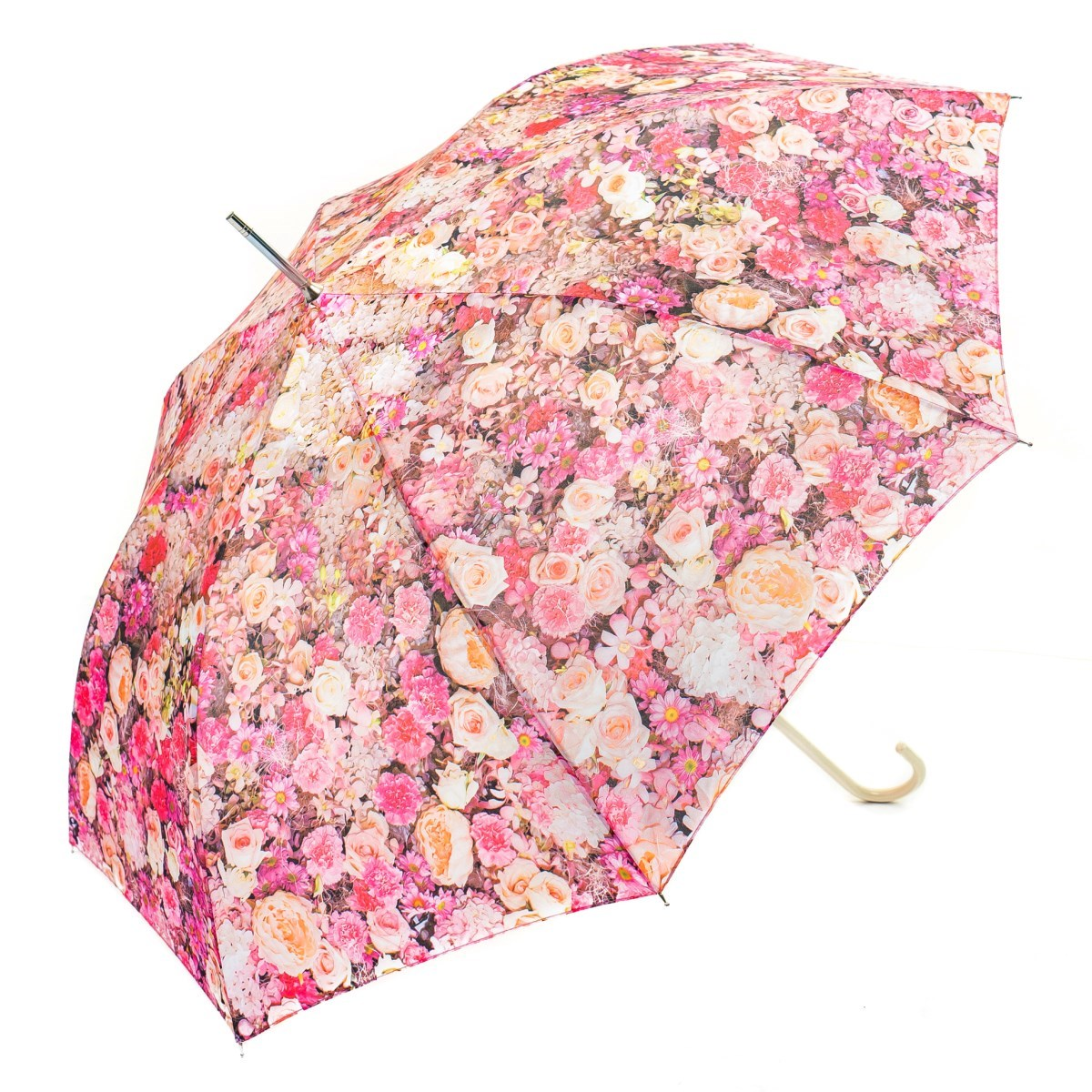 Pink & White Floral Ladies Walking Umbrella (15004)