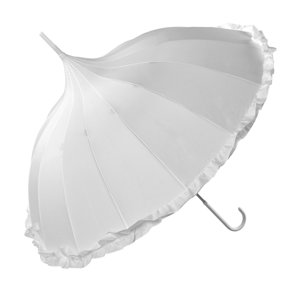 White Pagoda Umbrella With Frilled Border (17003/WHI)