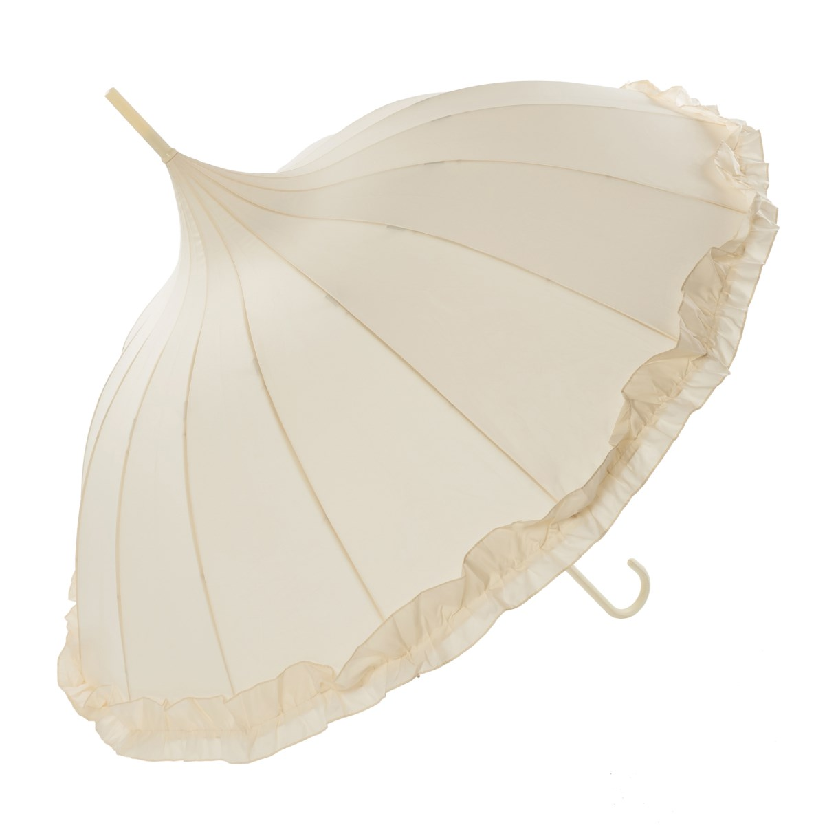 Oriental Ivory Ornate Pagoda Occasion Umbrella with Frilled Border (17003/IVO)