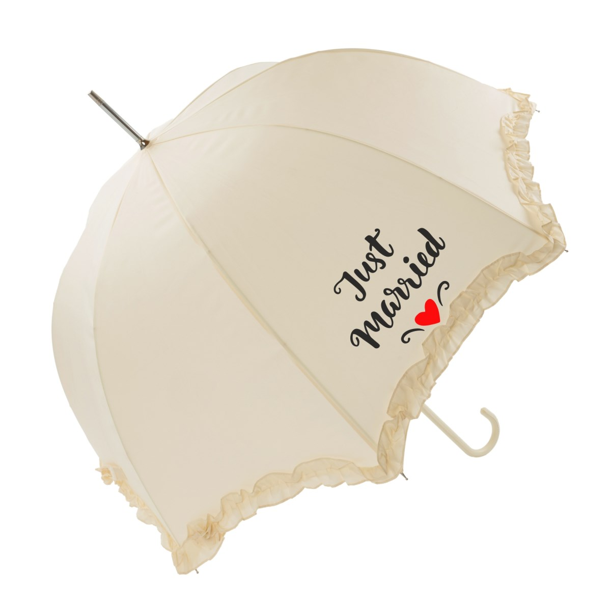 "Luxury Scallop Frilled ""Just Married"" Wedding Umbrella (17014/IVO)"