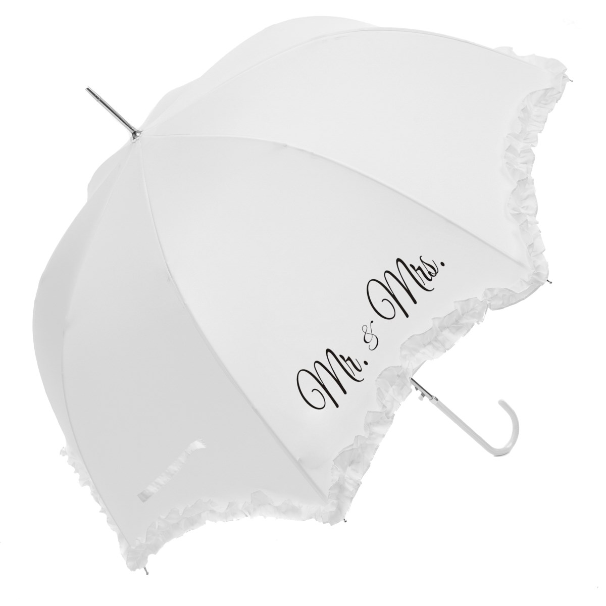 "Luxury Scallop Frilled ""Mr & Mrs"" Wedding Umbrella (17014WHI)"