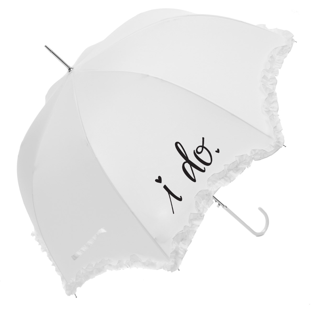 "Luxury Scallop Frilled ""I Do"" Wedding Umbrella (17014WHI)"