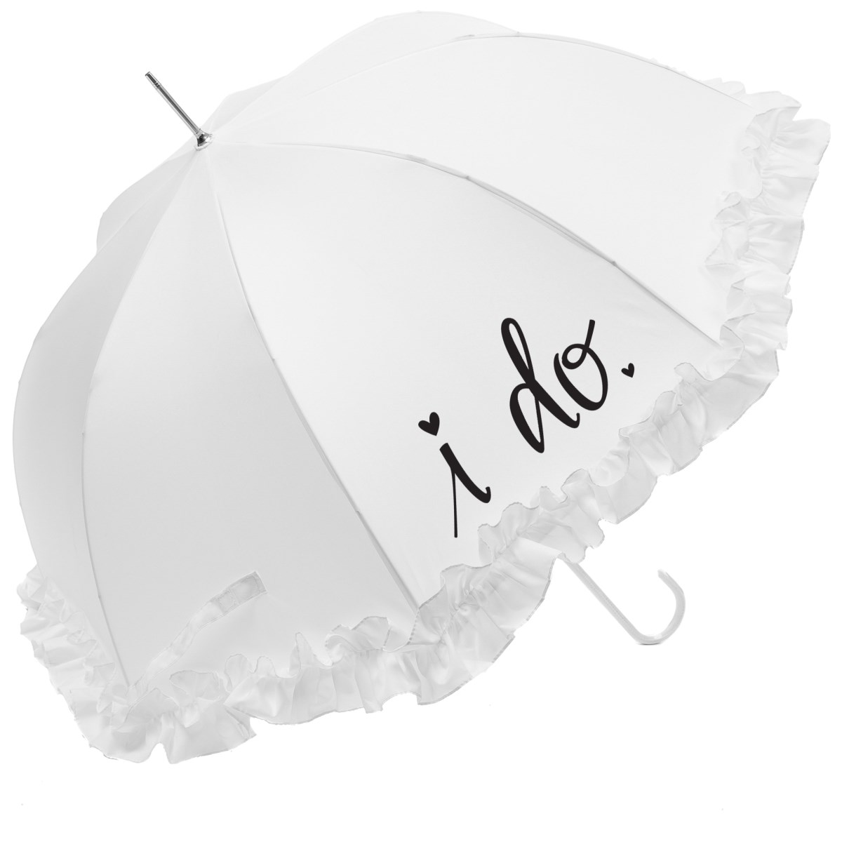"Luxury Large Frilled ""I Do"" Wedding Umbrella (17015/WHI)"