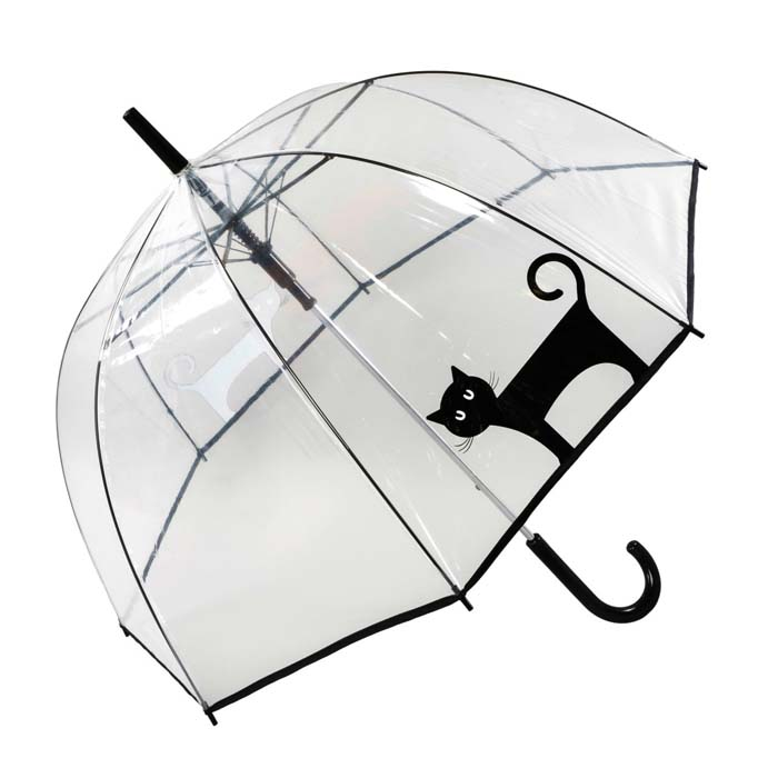Standing Black Cat Clear See Through Dome Umbrella (17017)