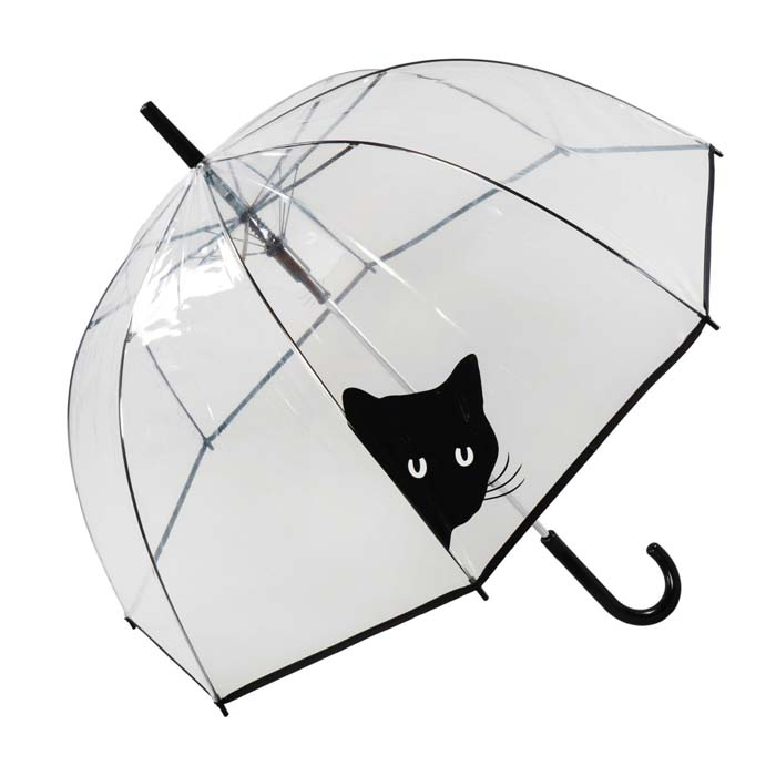 Peeking Black Cat Clear See Through Dome Umbrella (17018)