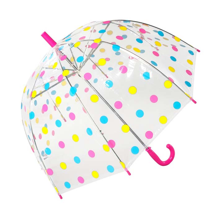 Childrens Multicoloured Polka Dot Dome Umbrella (17022)