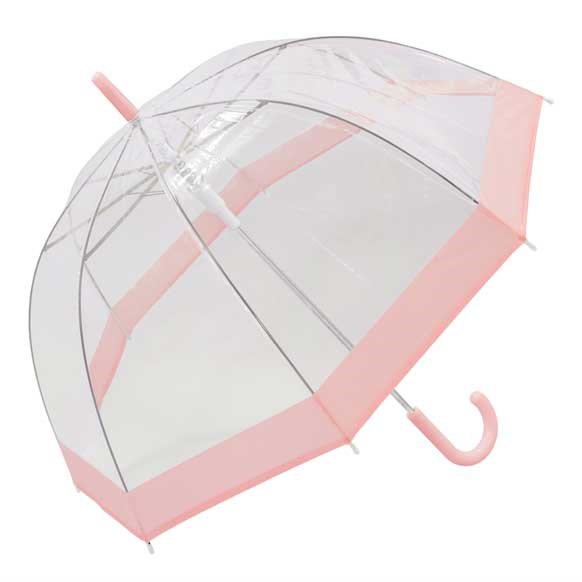Pastel Pink Bordered Dome Umbrella (18006)