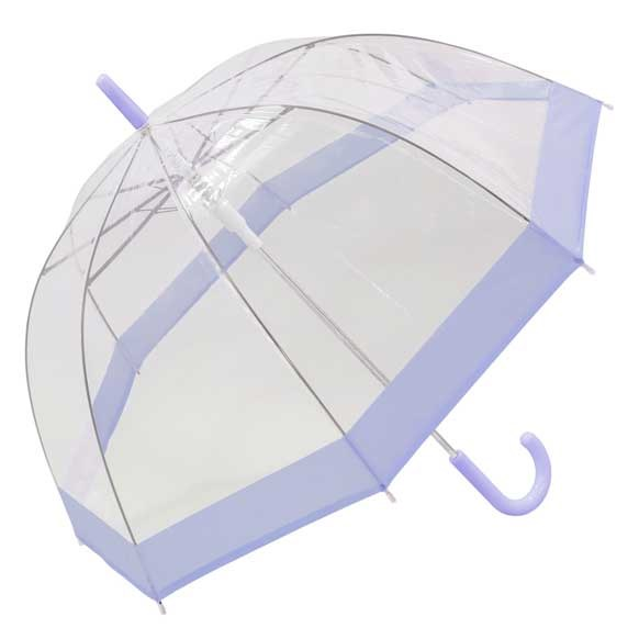 Pastel Purple Bordered Dome Umbrella Auto Open (18006)
