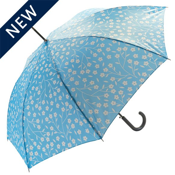 Spring Floral Blue Walking Umbrella (18008)