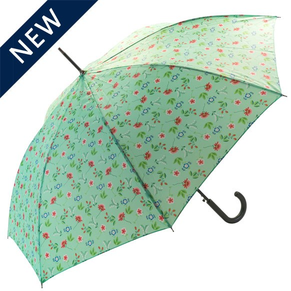 Spring Floral Green Walking Umbrella (18008)