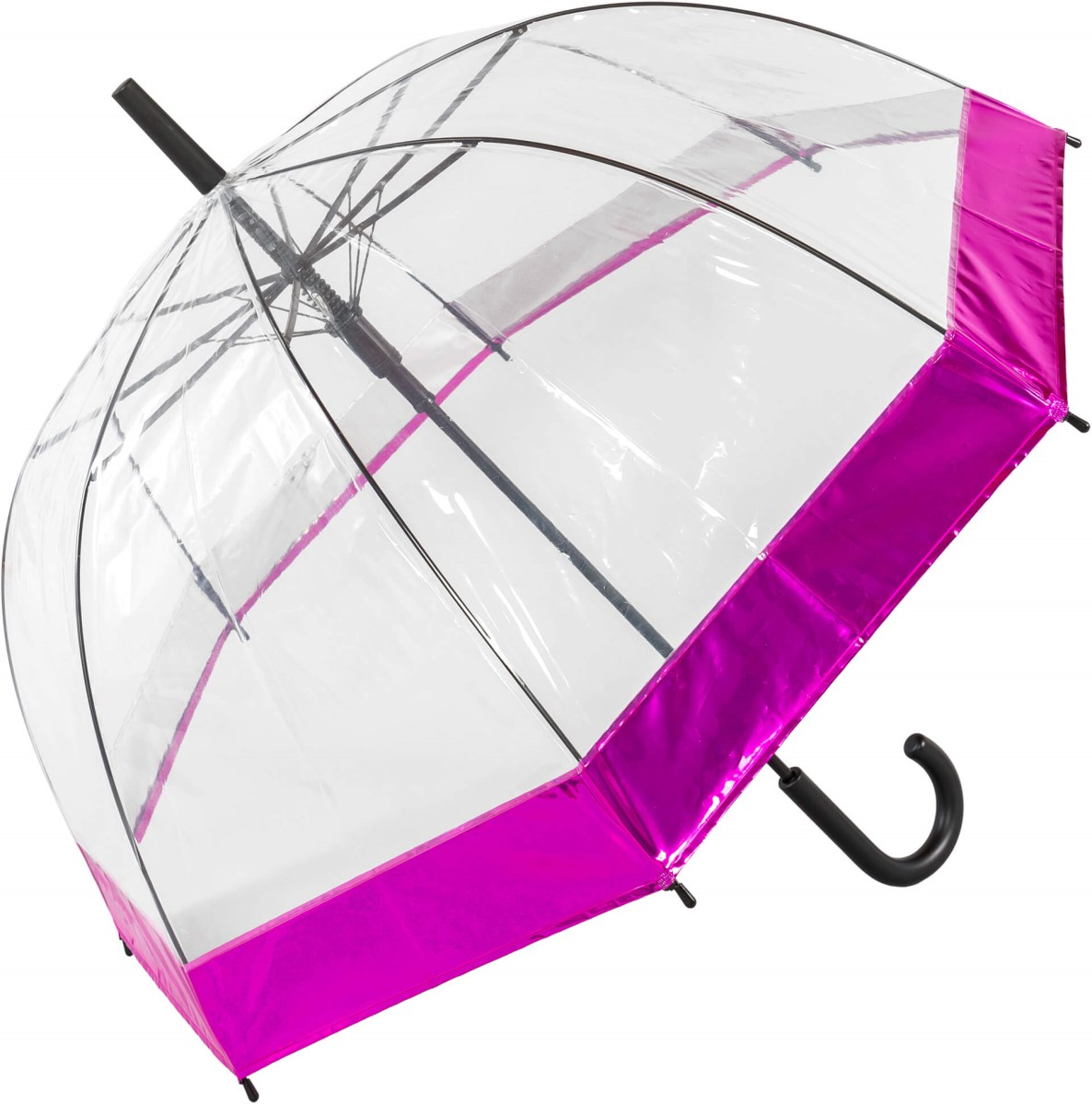 Clear Dome Umbrella with Metallic Pink Border (18020)