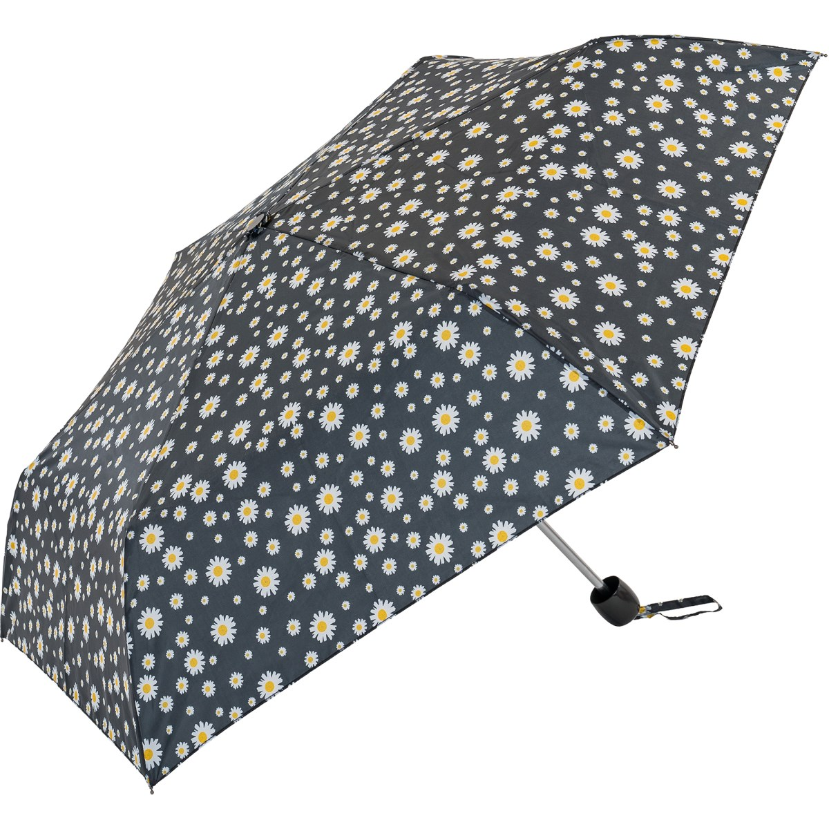 Black Daisy Print Compact Umbrella  (31105)