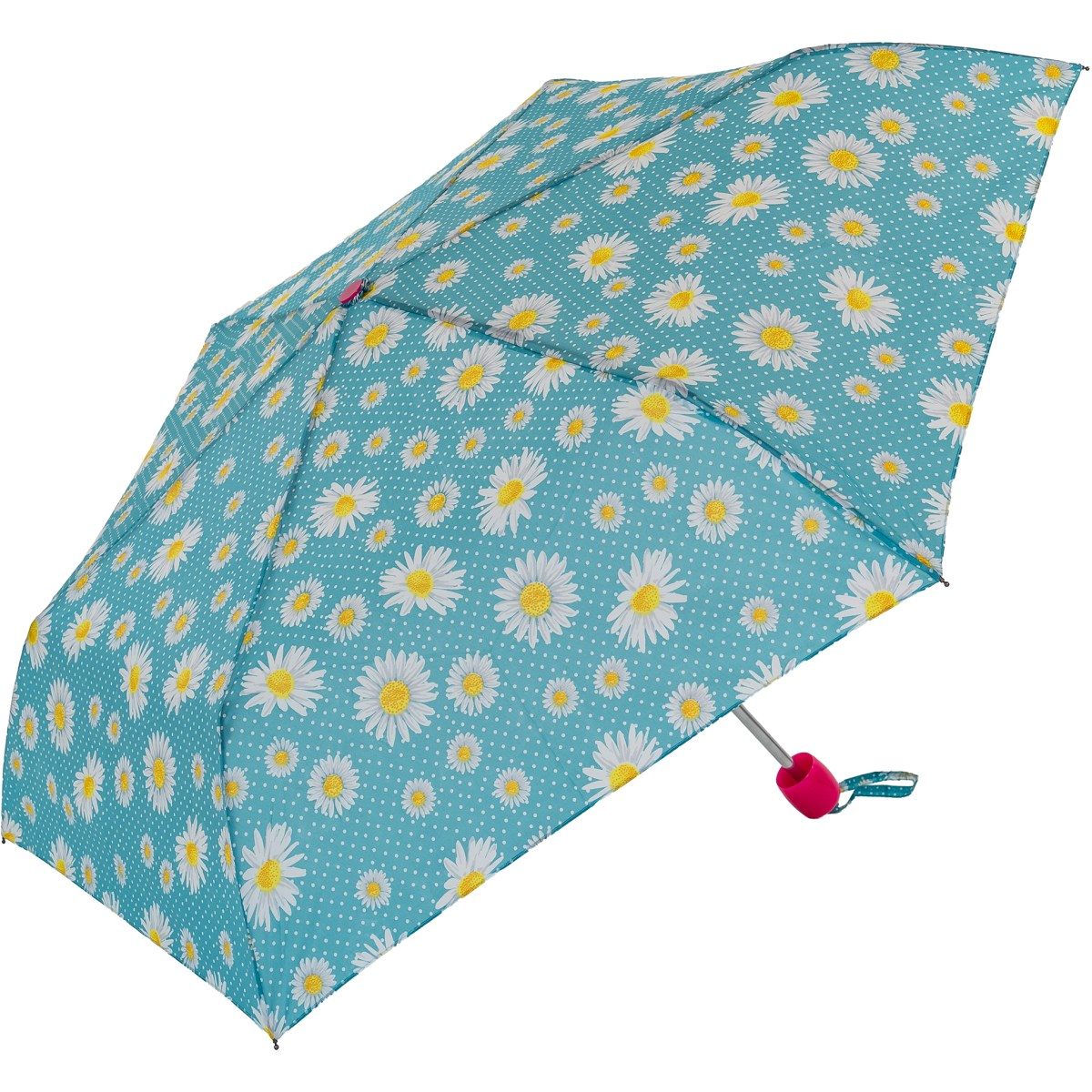 Blue Daisy Print Compact Umbrella  (31105)