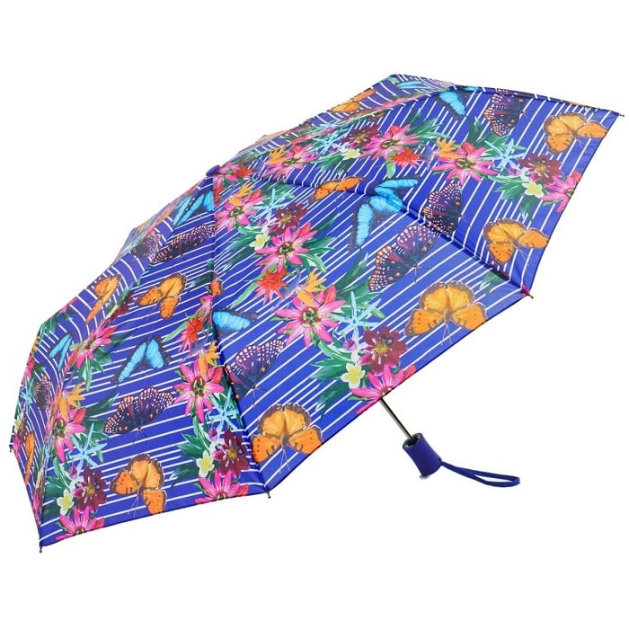 Wind Resistant Purple Botanic Automatic Compact Umbrella (31501)
