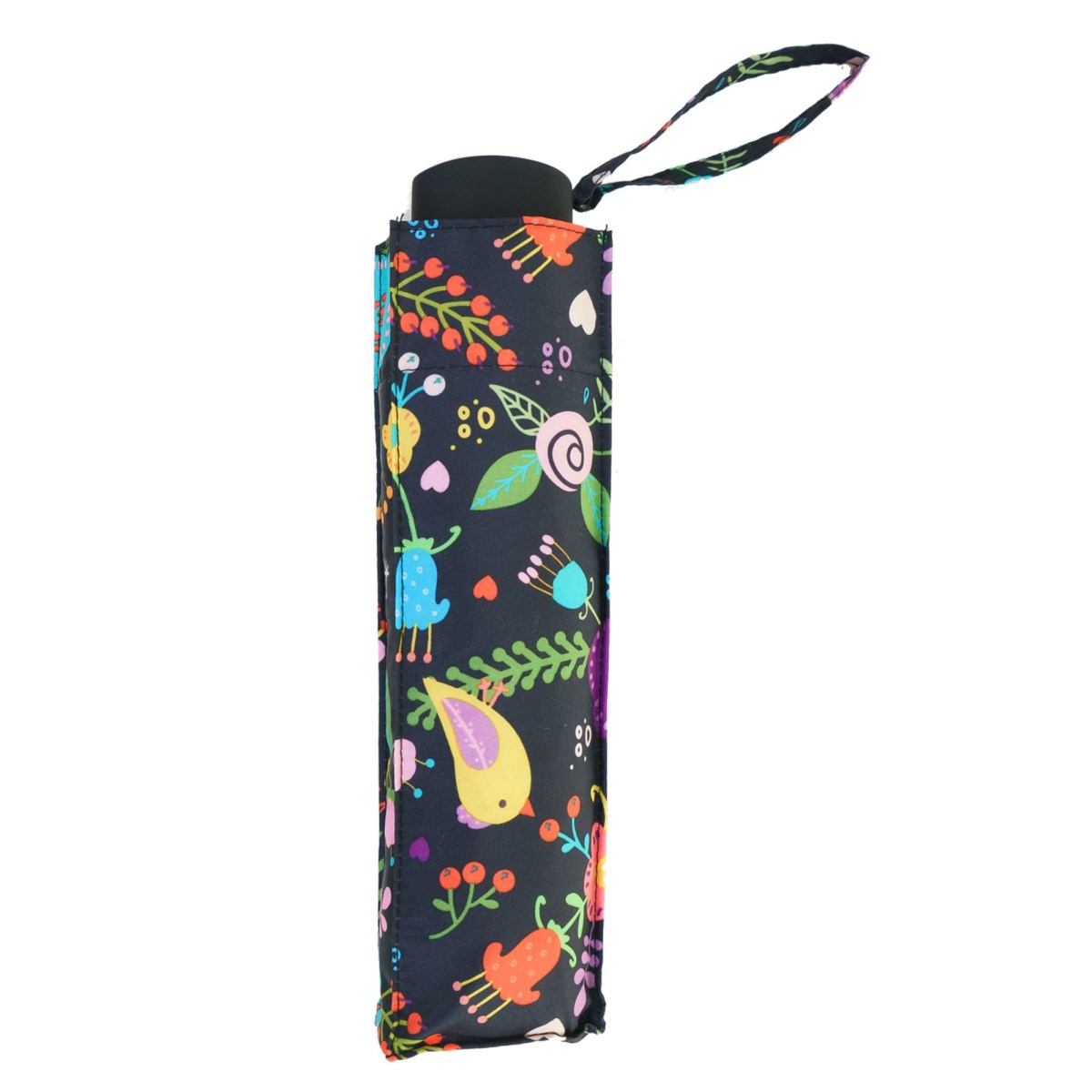 Wind Resistant Lightweight Black Floral Folk Ladies Compact Umbrella (31505)