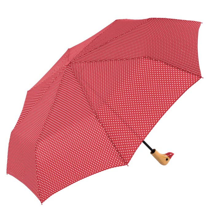 Red & White Polka Dot Duck Head Handle Ladies Compact Umbrella (31702)