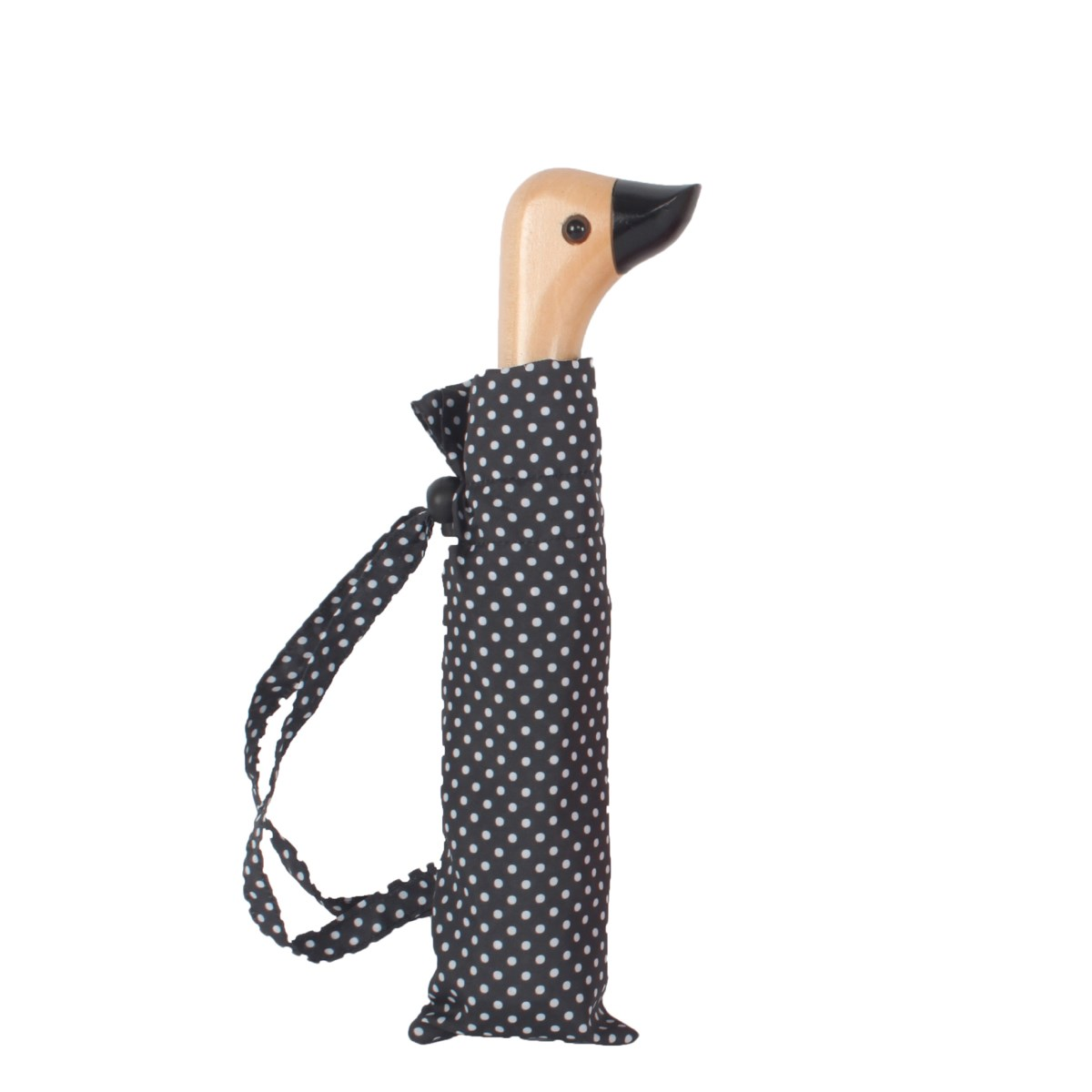 Black & White Polka Dot Duck Head Handle Ladies Compact Umbrella (31702)