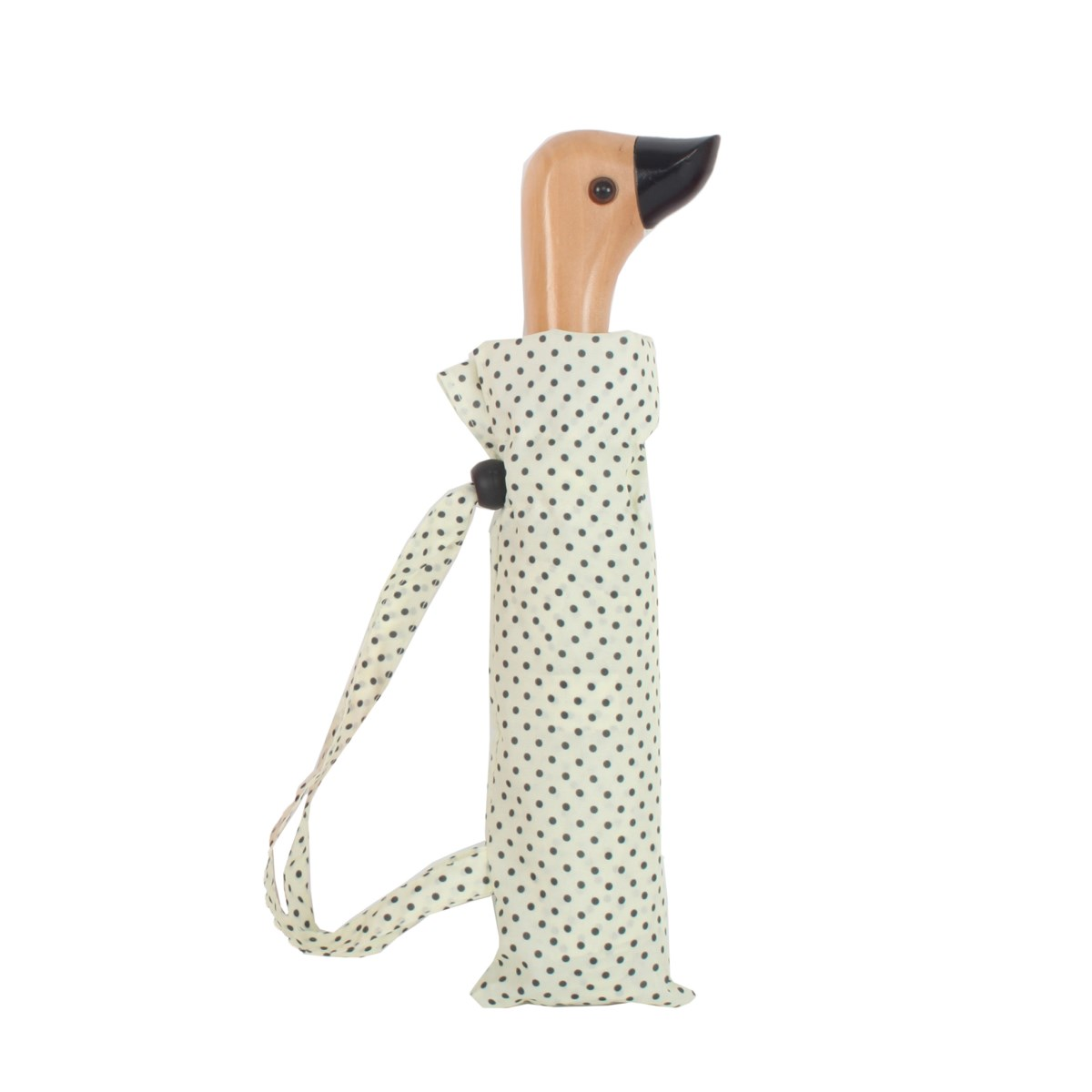 Cream & Black Polka Dot Duck Head Handle Ladies Compact Umbrella (31702)