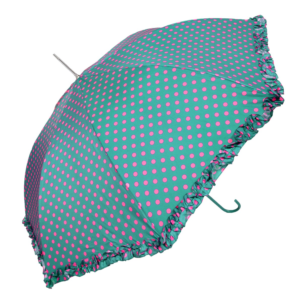 Bright Polka Dots With Frilled Border Green Ladies Walking Umbrella (3180)