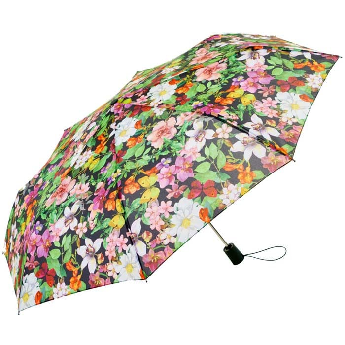 Wind Resistant Garden Florals Automatic Compact Umbrella (33152)