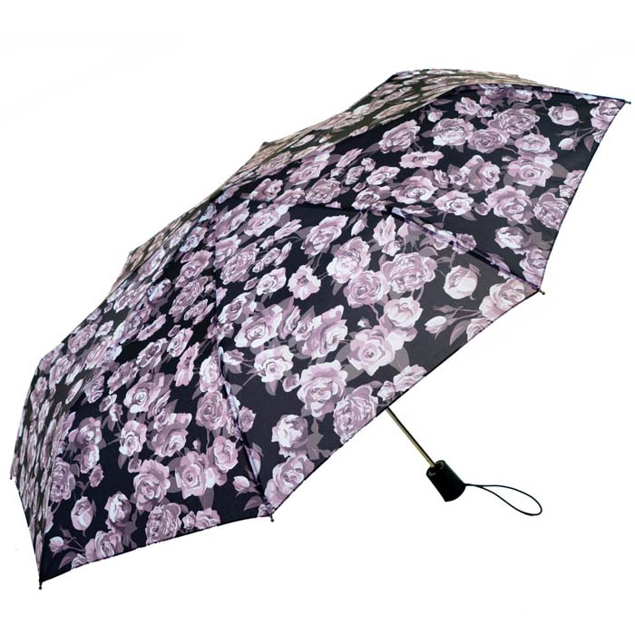 Wind Resistant Rose Garden Florals Automatic Compact Umbrella (33152)