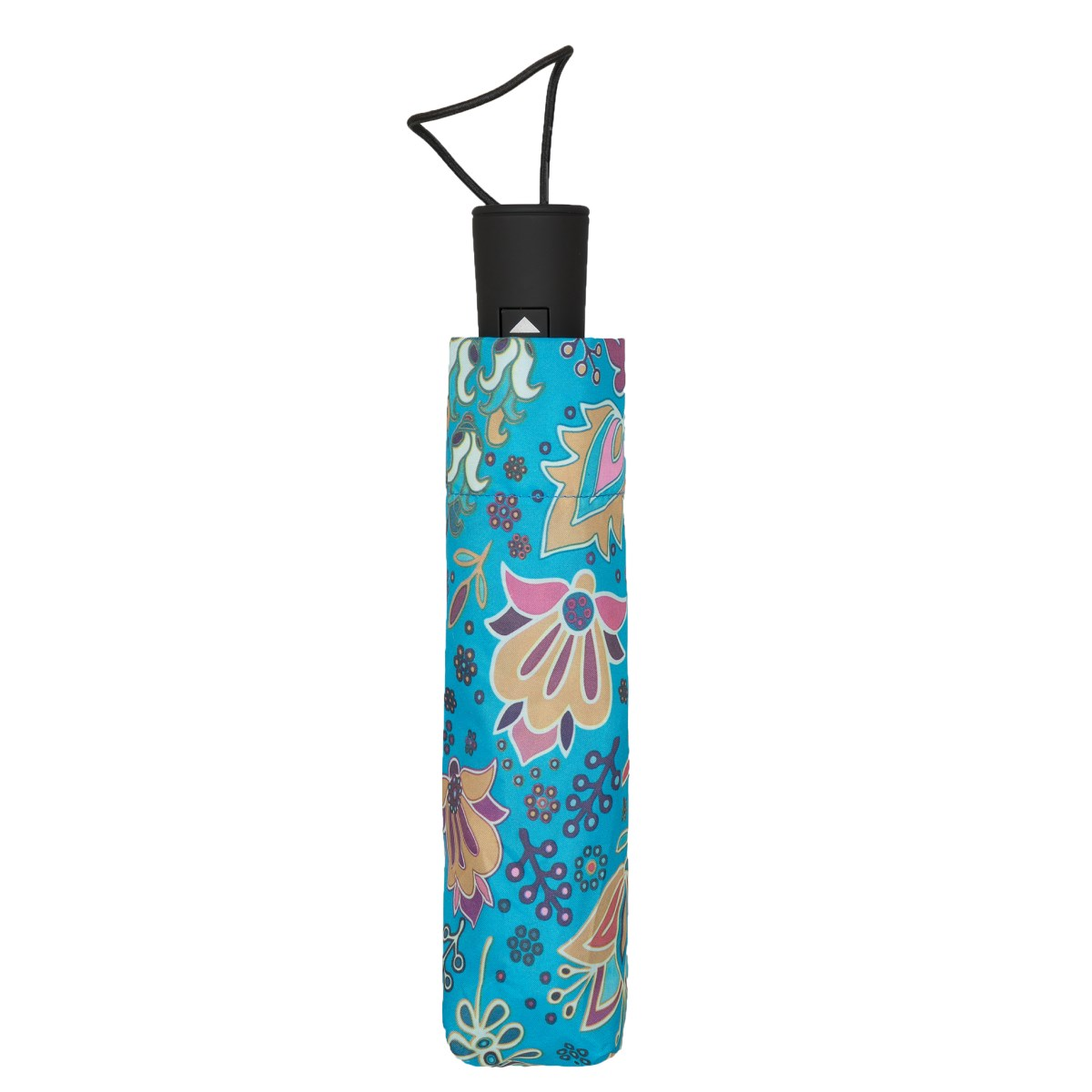 Wind Resistant Blue Paisley Print Automatic Compact Umbrella (33156)