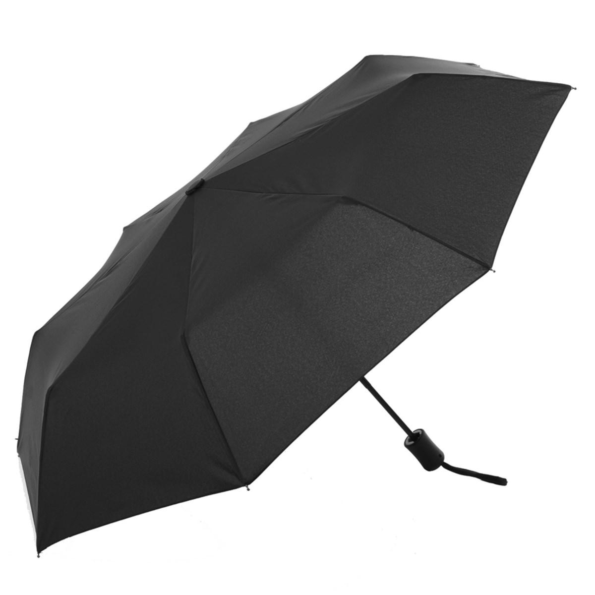 Plain black automatic compact umbrella susino umbrellas for Wind resistant material