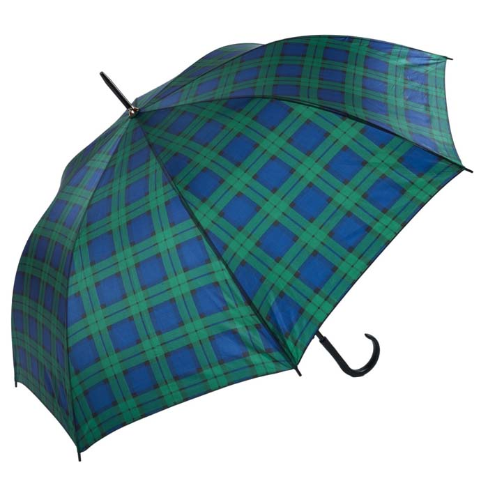 Unisex Blue & Green Tartan Walking Umbrella (3422-2)