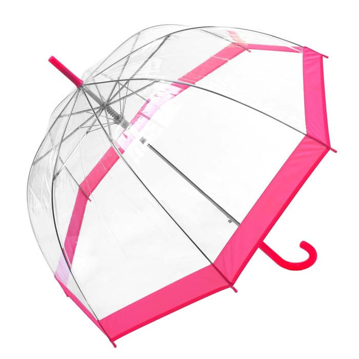 Coloured Border Clear Bubble Transparent Dome Umbrella - Pink (3466A)
