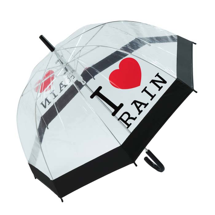 I Love Rain Clear PVC Bubble Transparent Dome Umbrella (3467A)