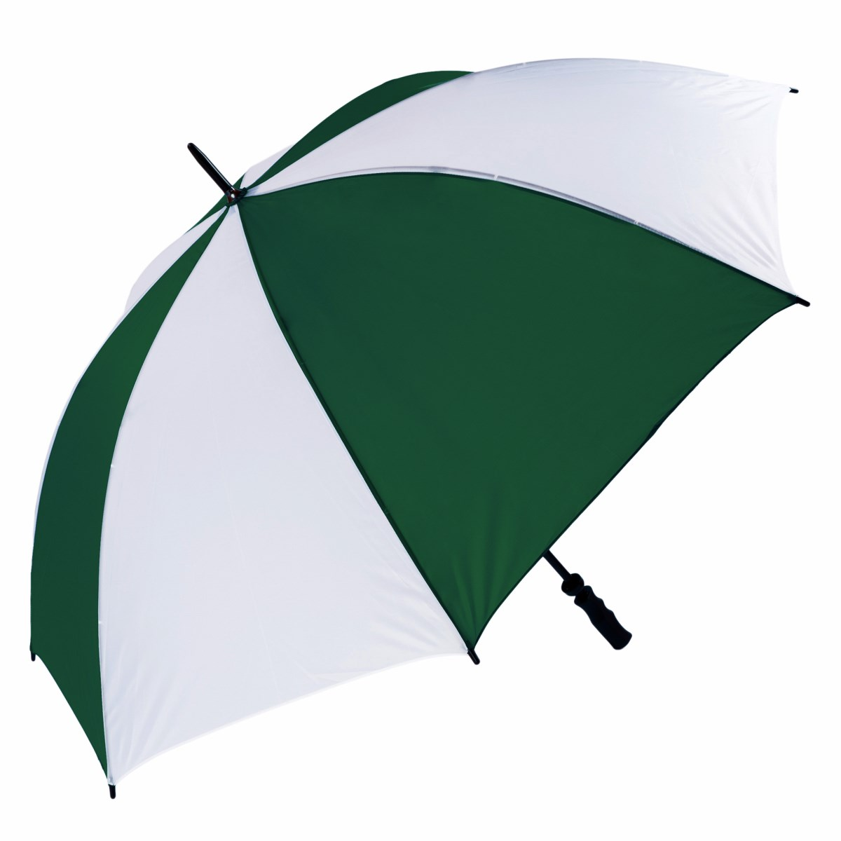 Wind Resistant Fibrelight Large Green & White Golf Umbrella (3473)