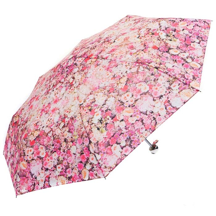 Pink & White Floral Ladies Compact Umbrella (3487)