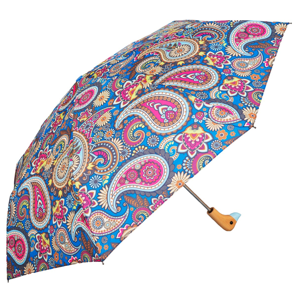 Blue Paisley Print Wooden Duck Head Handle Ladies Compact Umbrella (3489)