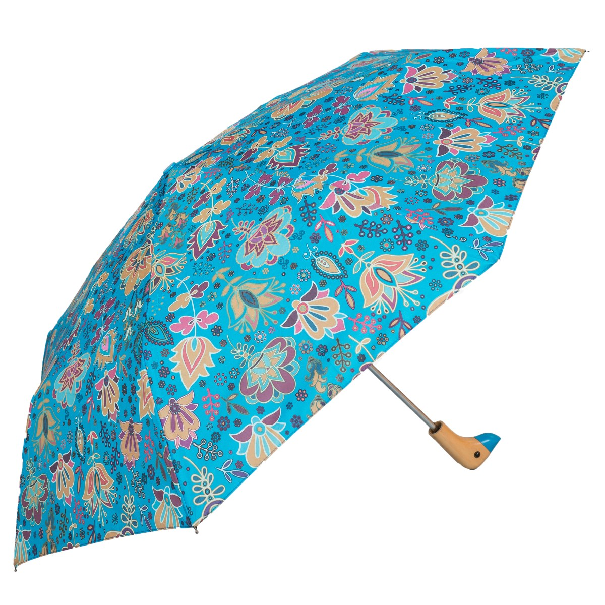 Pale Paisley Print Wooden Duck Head Handle Ladies Compact Umbrella (3489)