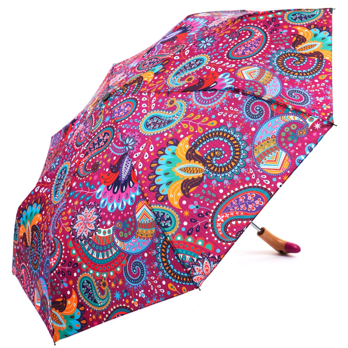 Click to view Paisley Print Wooden Duck Head Handle Ladies Compact Umbrella (3489)