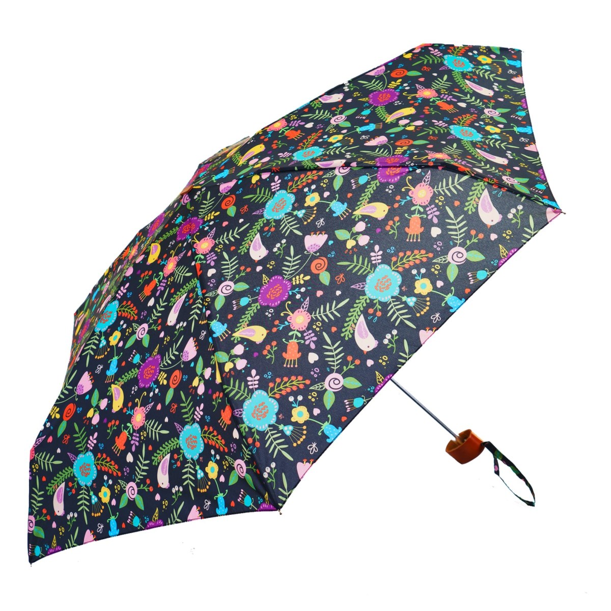 Black Floral Folk Ladies Mini Compact Umbrella (51025)