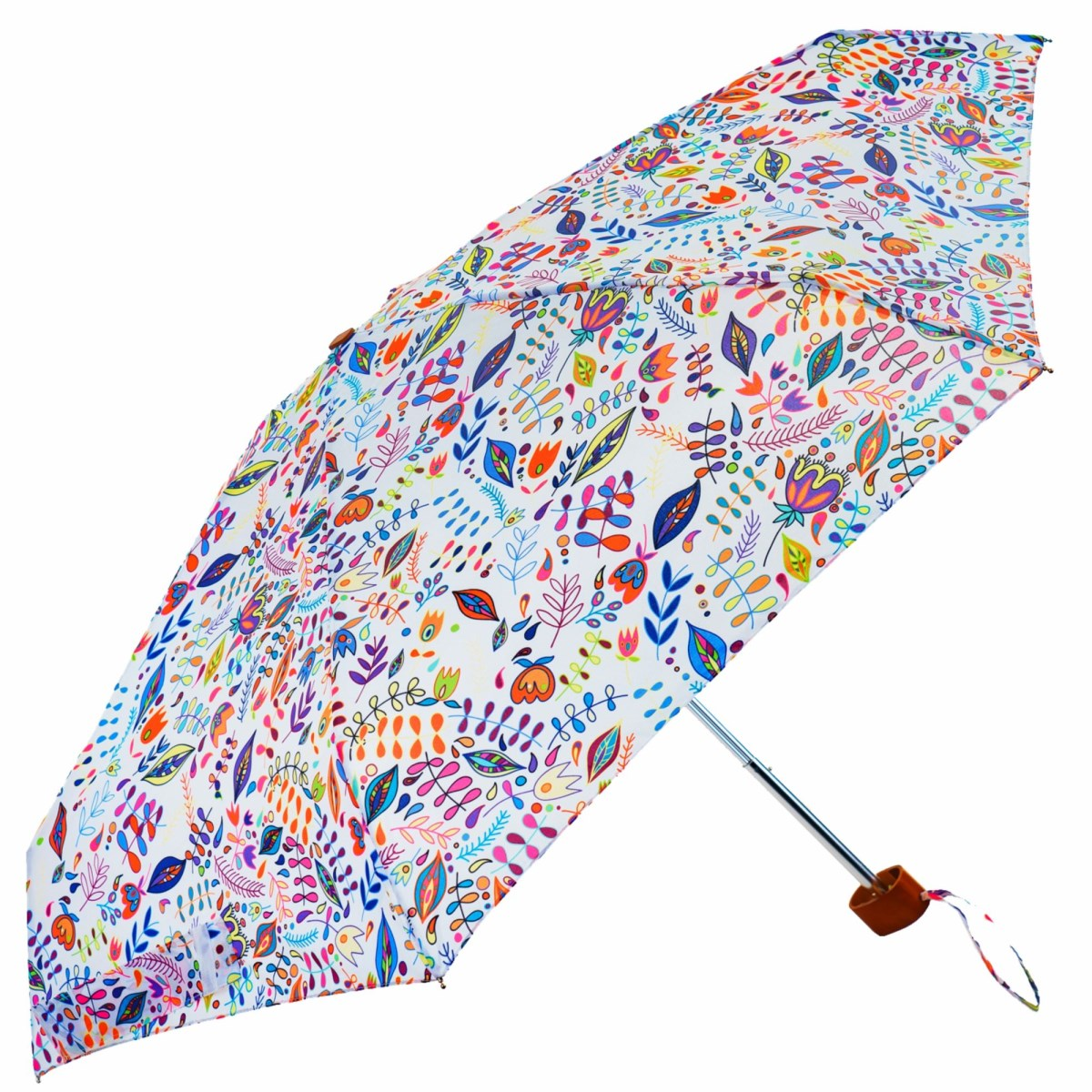 White Floral Folk Print Ladies Mini Compact Umbrella (51025)