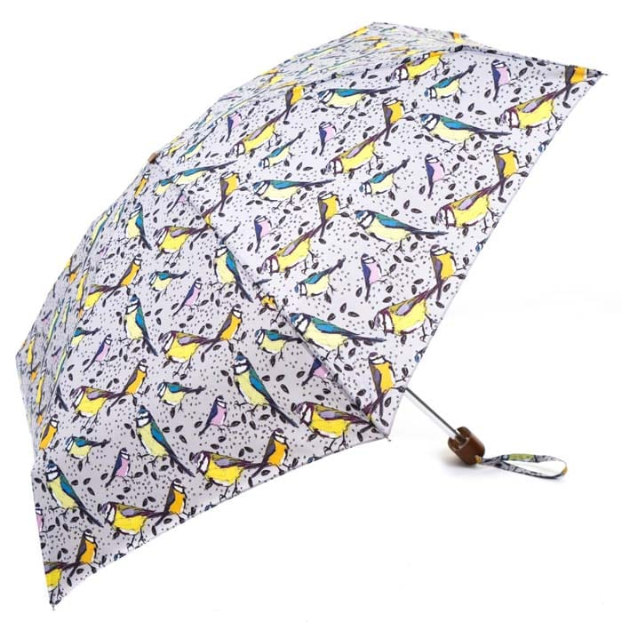 Grey Vintage Birds Ladies Mini Compact Umbrella (51029)