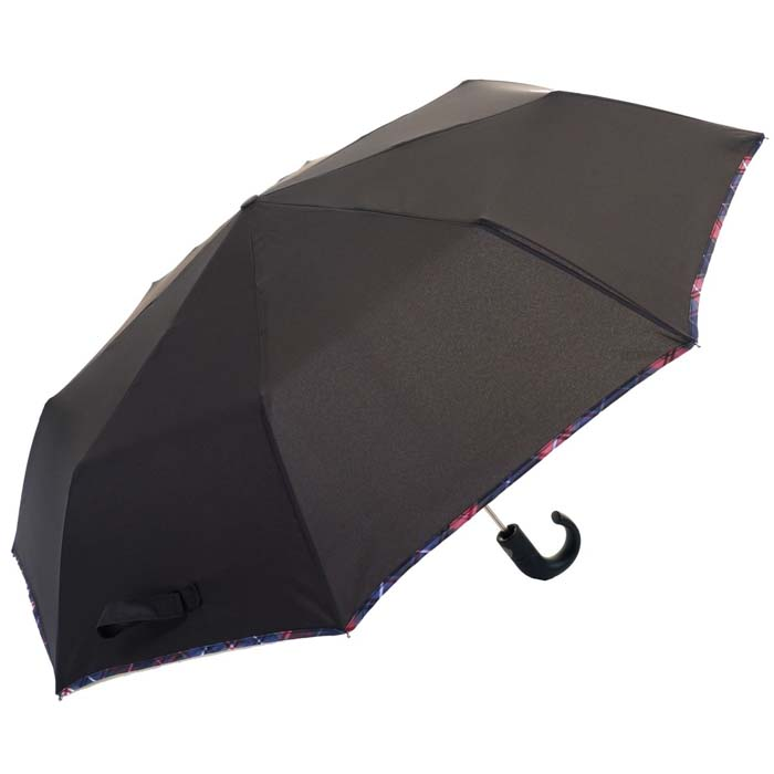 Lightweight Coloured Border Gentlemens Automatic Compact Umbrella (31507)