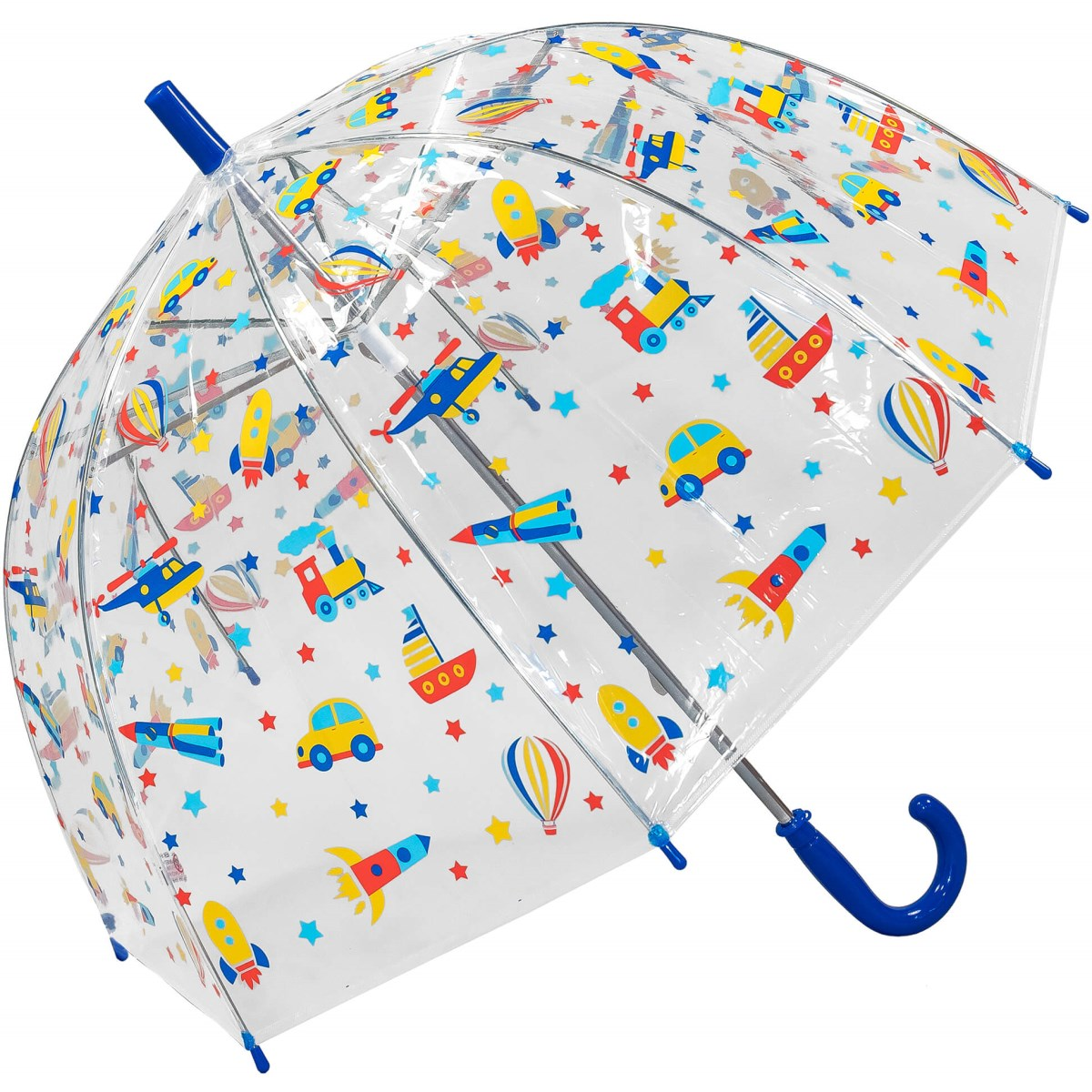 Kids See-through Dome Umbrella with Transport Print (18010)