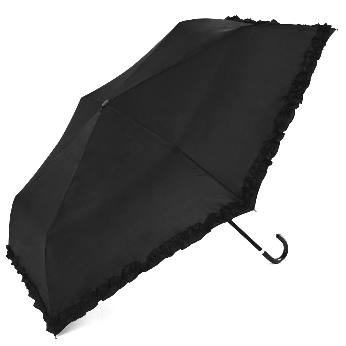 Lightweight Black Frilled Ladies Crook Handle Compact Umbrella (31008)