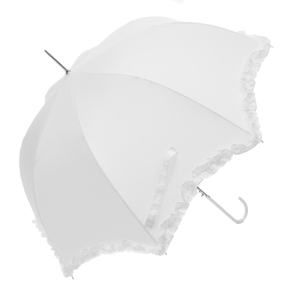 White Scallop Frilled Wedding Umbrella (3599/WHI)