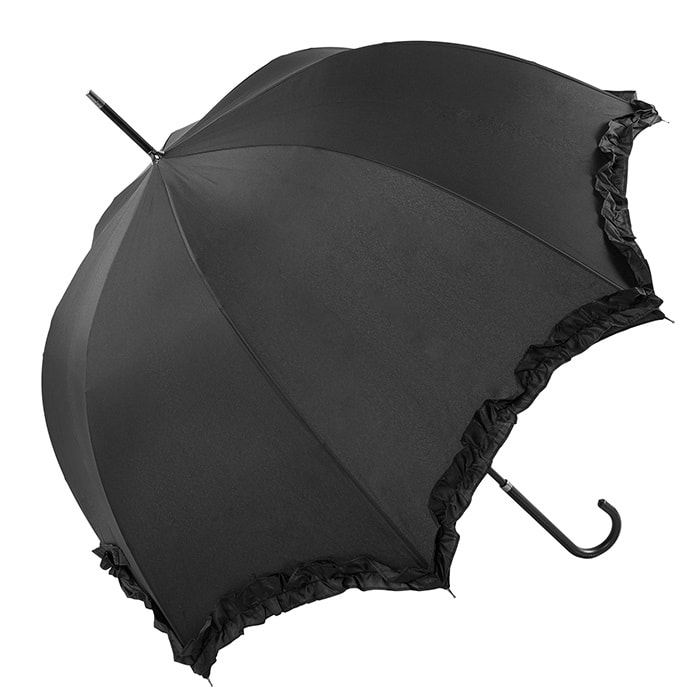 Black Scallop Frilled Wedding Umbrella (3599/BLK)