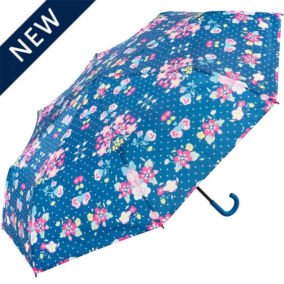 Floral Crook Blue Handle Umbrella (31904B)