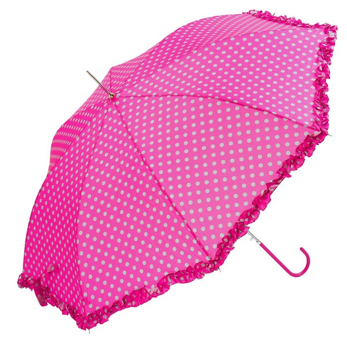 Bright Polka Dots With Frilled Border Pink Ladies Walking Umbrella (3180)