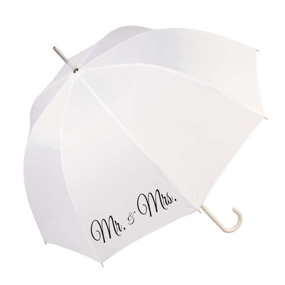 "Luxury White Wedding Slogan Umbrella ""Mr & Mrs"" (17016/WHI)"